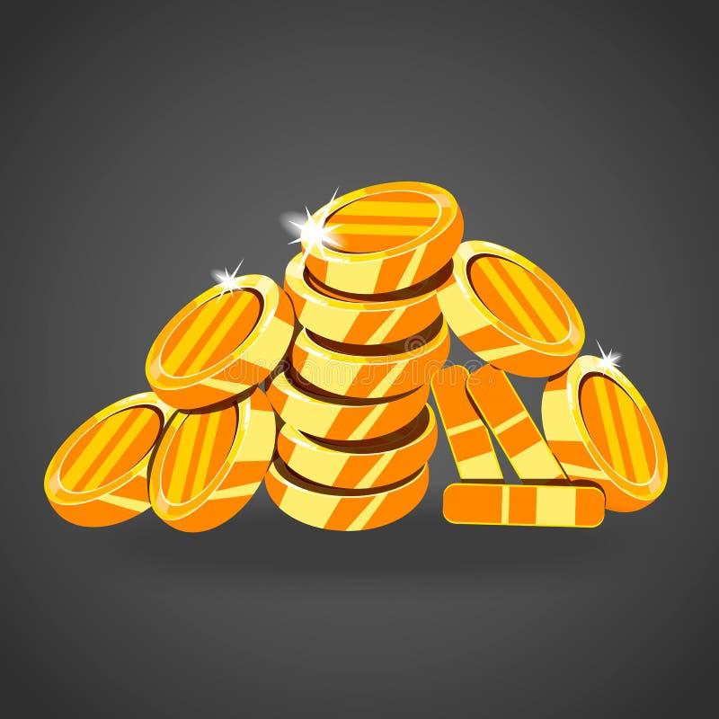 Een berg van gouden muntstukken royalty-vrije illustratie