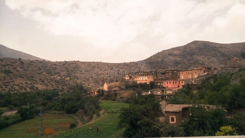 Een bergdorp in zuidelijk Marokko stock foto
