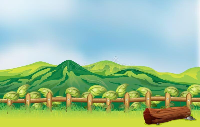 Een bergmening over een houten omheining royalty-vrije illustratie