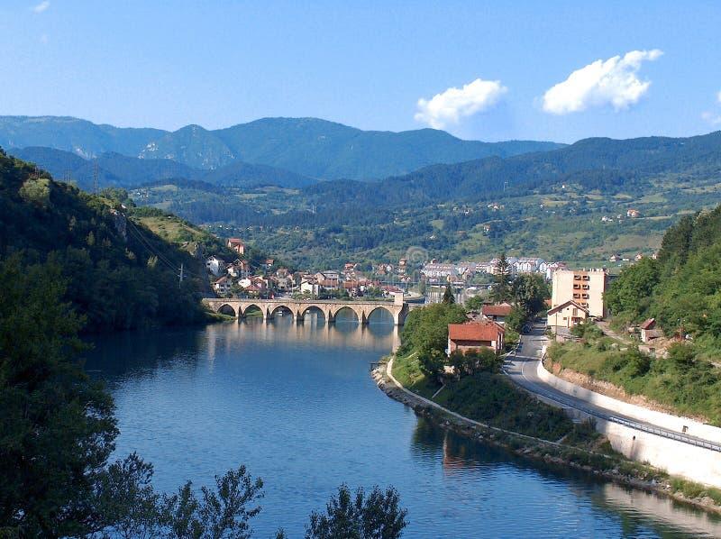 Een beroemde brug op Drina River stock fotografie