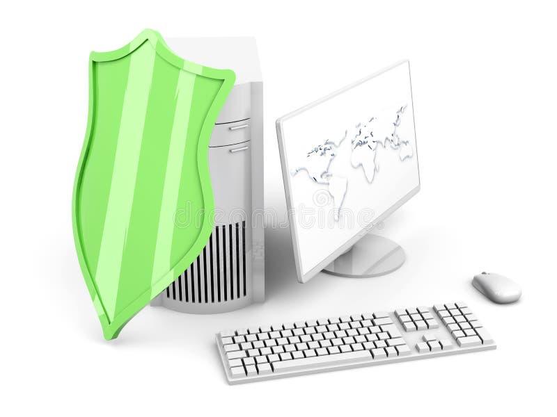 Een beschermd en beschermd bureaucomputersysteem vector illustratie