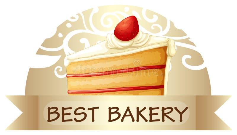 Een beste bakkerijetiket die een plak van cake tonen royalty-vrije illustratie