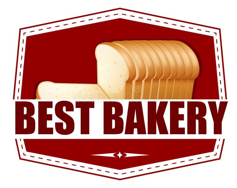 Een beste bakkerijetiket met boterhammen stock illustratie