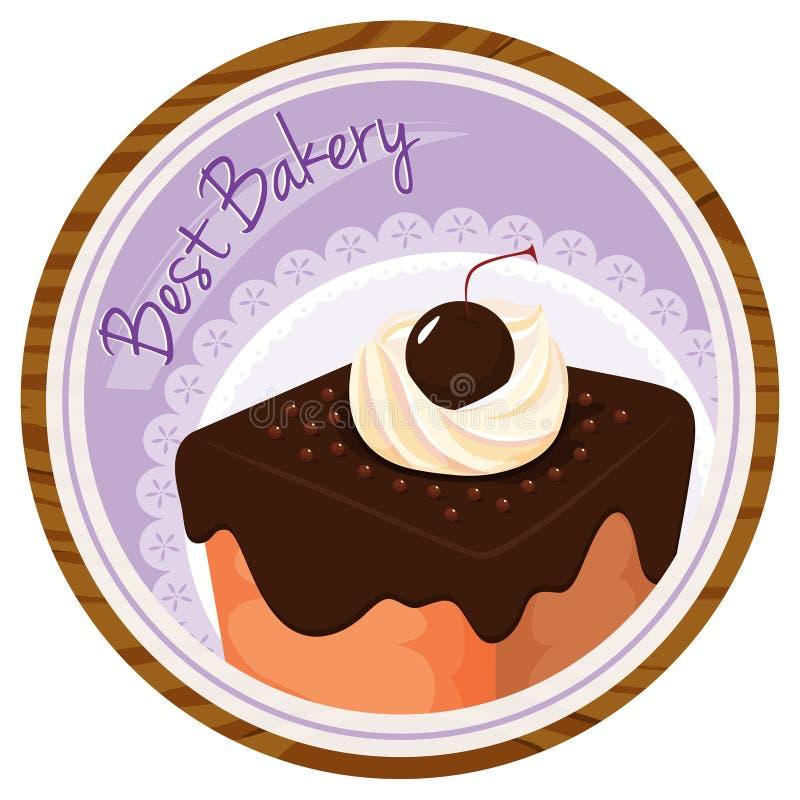 Een beste bakkerijetiket met een cake vector illustratie