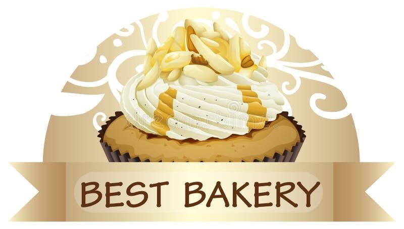 Een beste bakkerijetiket met een cupcake royalty-vrije illustratie