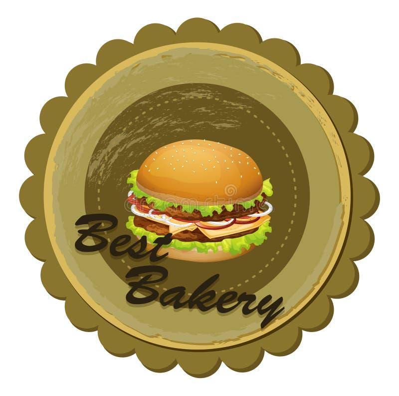 Een beste bakkerijetiket met een hamburger royalty-vrije illustratie
