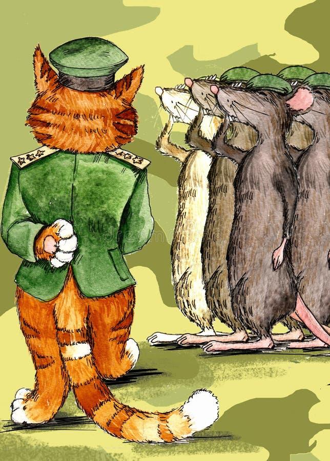 Een bevelhebber-in-belangrijkste kat stock illustratie