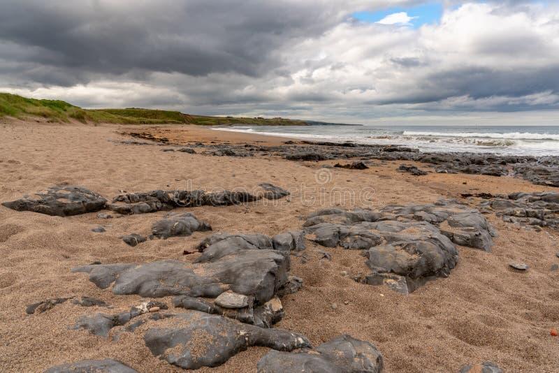 Een bewolkte dag op een steenachtig strand stock afbeeldingen