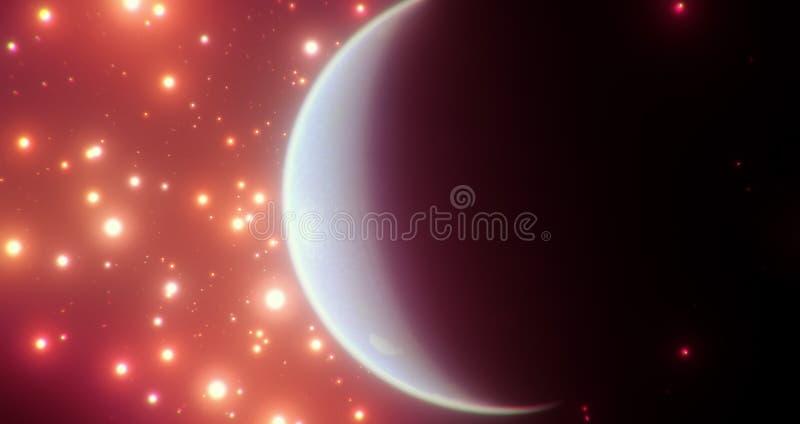 Een bewoonbare blauwe wereld onder heldere oranjerode sterren met zijn donkere zeer zichtbare kant stock illustratie