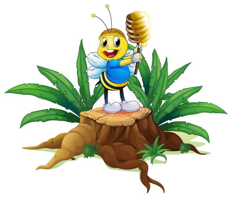 Een bij die een honing boven het hout houden royalty-vrije illustratie