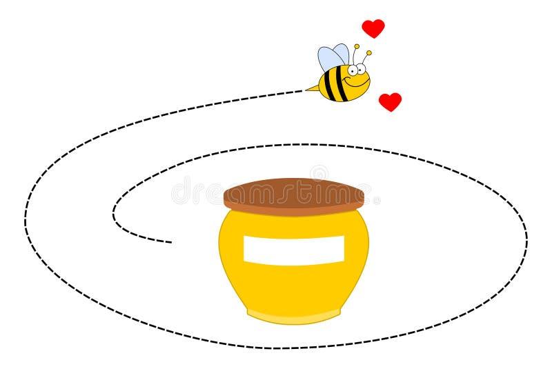 Een bij die rond een pot van honing roteren stock illustratie