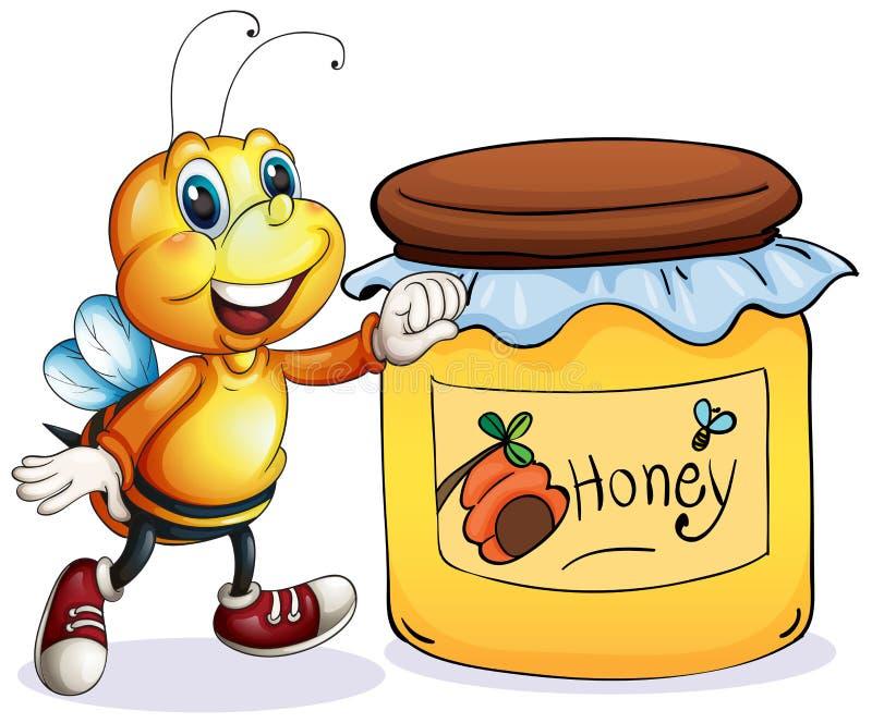 Een bij naast de kruik honing vector illustratie