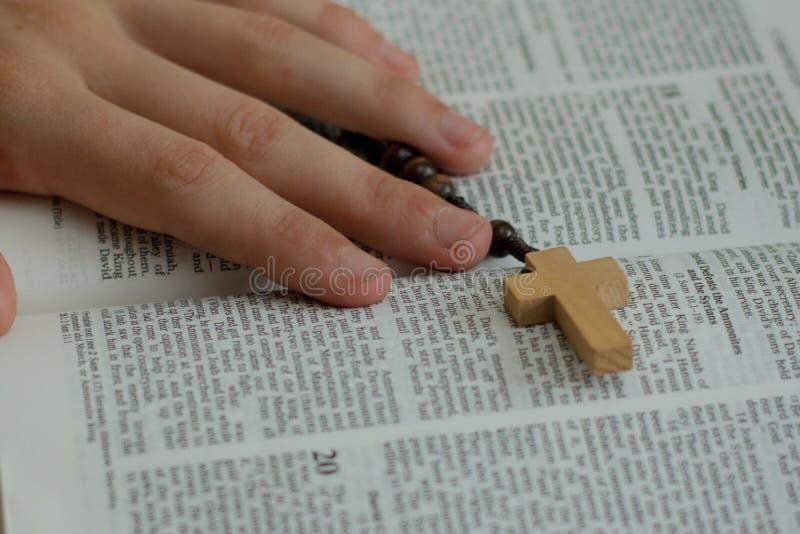 Een bijbel en een rozentuin royalty-vrije stock foto