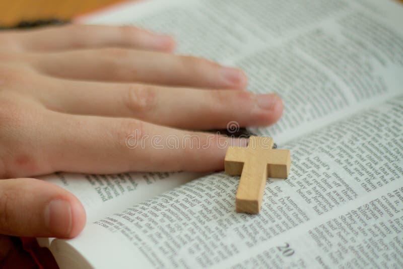 Een bijbel en een rozentuin stock afbeeldingen