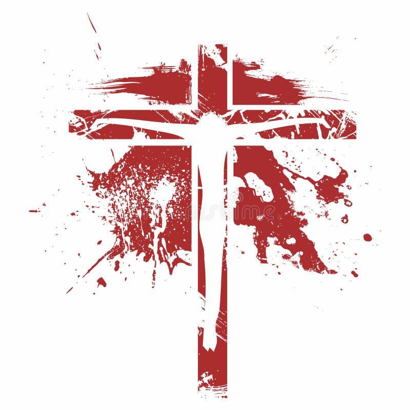 Een Bijbelse illustratie van de kruisiging van Jesus Christ vector illustratie