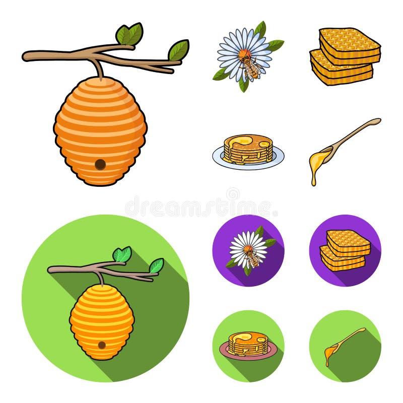 Een bijenkorf op een tak, een bij op een bloem, een honingraat met honing, een honingscake Pictogrammen van de bijenstal de vastg vector illustratie