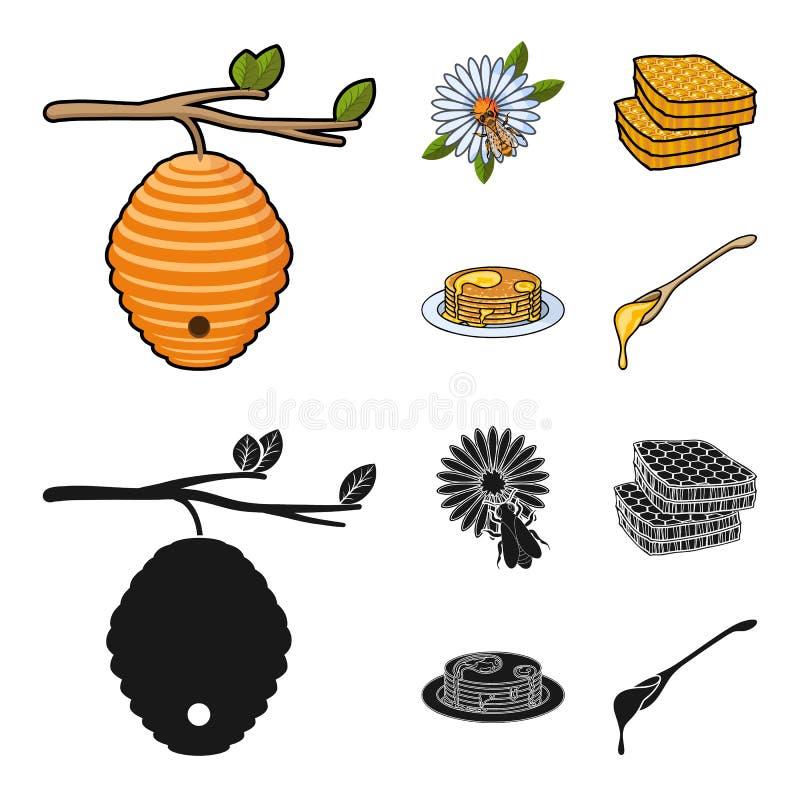 Een bijenkorf op een tak, een bij op een bloem, een honingraat met honing, een honingscake Pictogrammen van de bijenstal de vastg stock illustratie