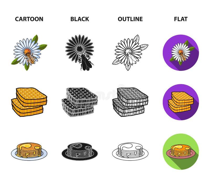 Een bijenkorf op een tak, een bij op een bloem, een honingraat met honing, een honingscake Pictogrammen van de bijenstal de vastg royalty-vrije illustratie