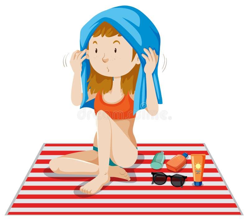 Een Bikinimeisje die op Witte Achtergrond looien vector illustratie