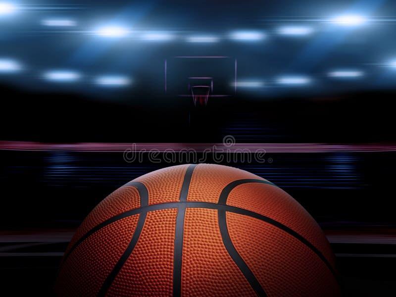 Een binnenbasketbalhof met een oranje bal op een niet gemarkeerde houten vloer onder verlichte schijnwerpers royalty-vrije stock foto's