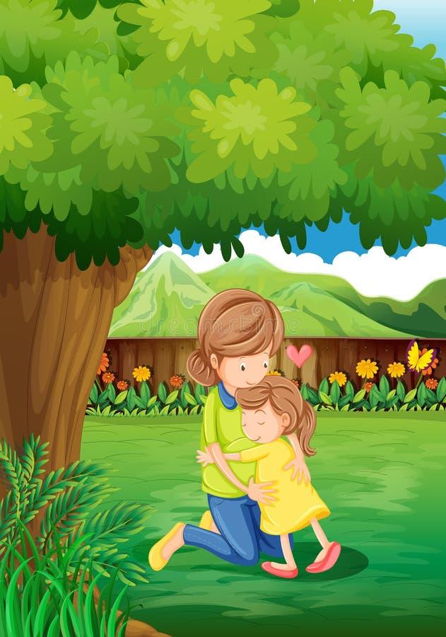 Een binnenplaats met een moeder en een kind royalty-vrije illustratie