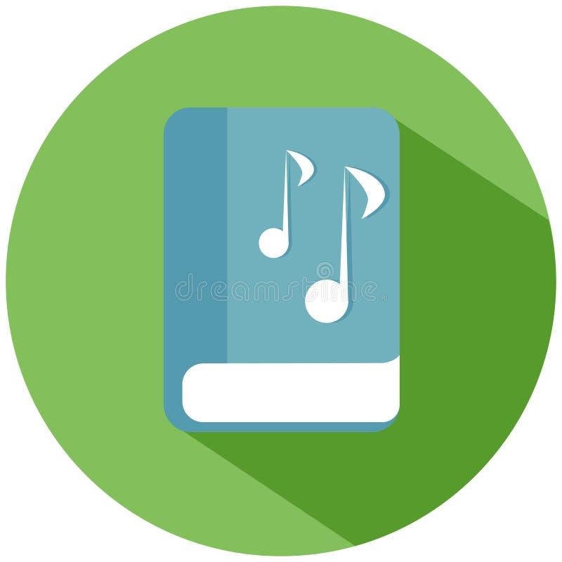 Een blauw boek met muzieknoten in een groene die cirkel op witte achtergrond wordt geïsoleerd Het pictogram van toestellen vector illustratie