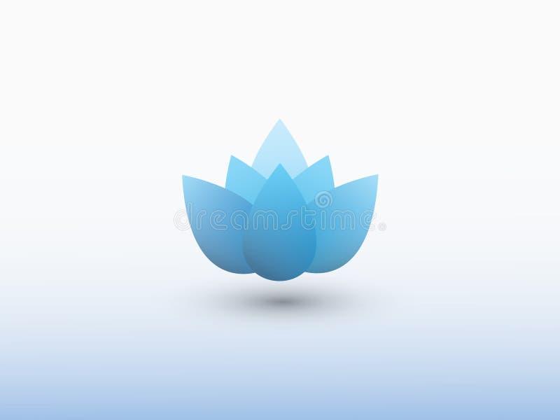 Een blauw embleem van de waterleliebloem op witte vector als achtergrond vector illustratie