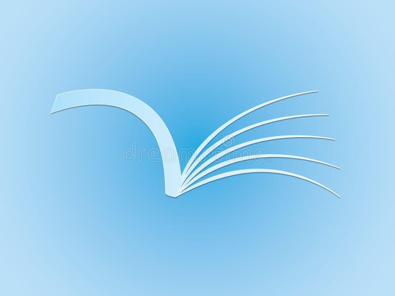 Een blauw open boek voor lezing aan het embleem van de aandeelkennis voor school en universiteit vector illustratie