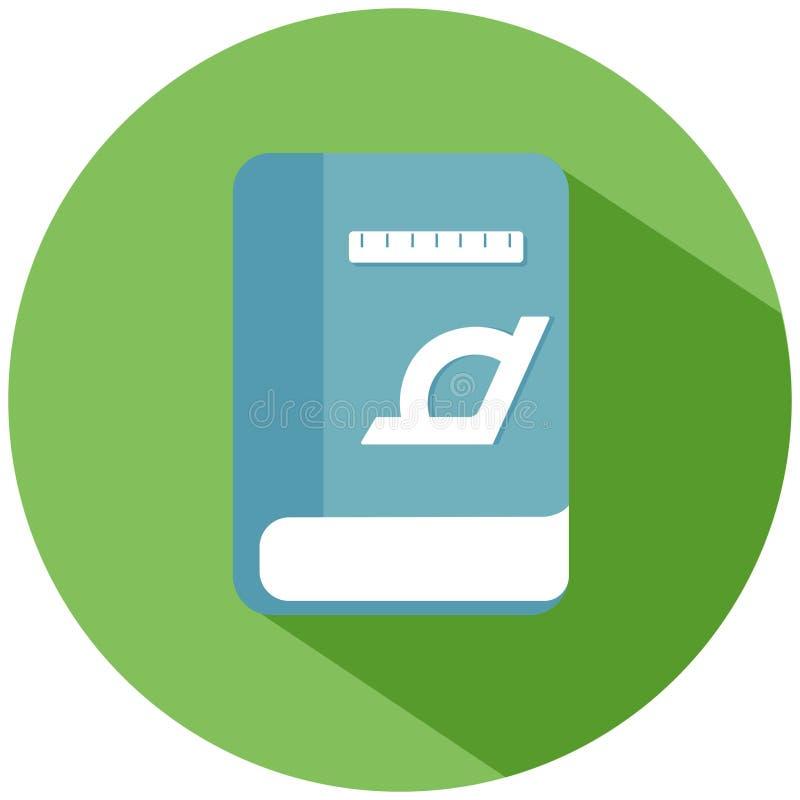 Een blauw Wiskundeboek met heersers in een groene die cirkel, op witte achtergrond wordt geïsoleerd Het pictogram van toestellen vector illustratie