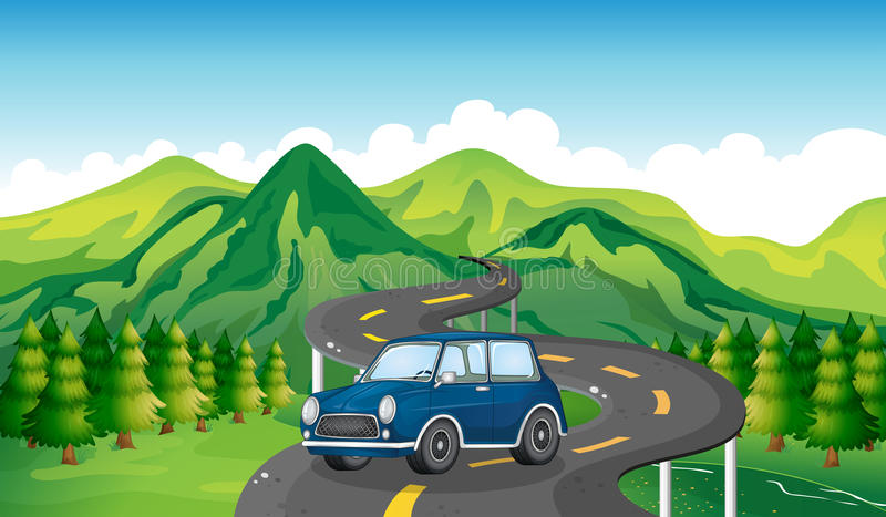 Een blauwe auto en de windende weg stock illustratie