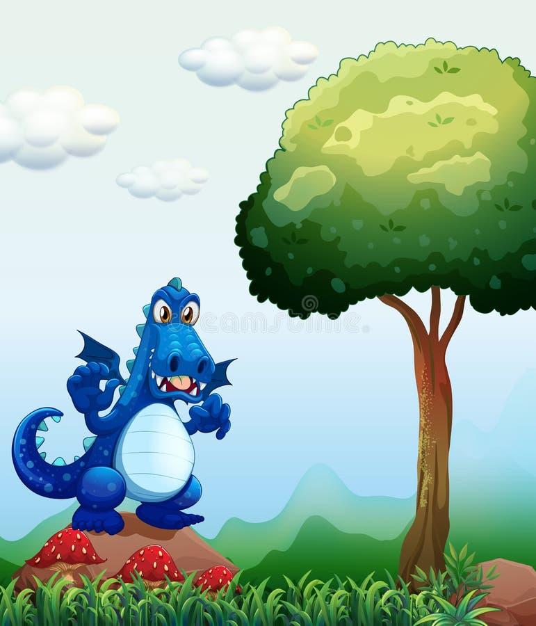 Een blauwe draak bij het bos die zich boven de rots bevinden royalty-vrije illustratie