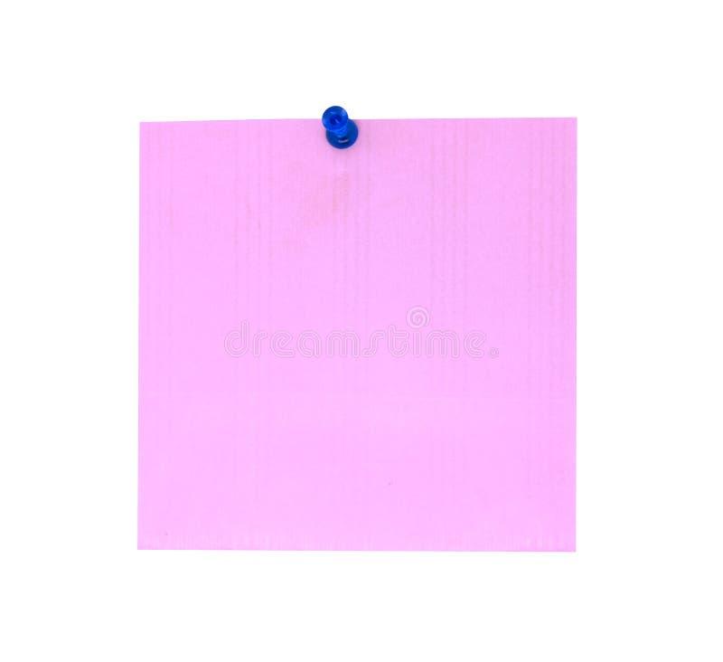 Een blauwe drukknop met leeg roze notitiepapier Roze blad voor uw bericht of het toevoegen van meer tekst Memorandum met drukknop stock fotografie