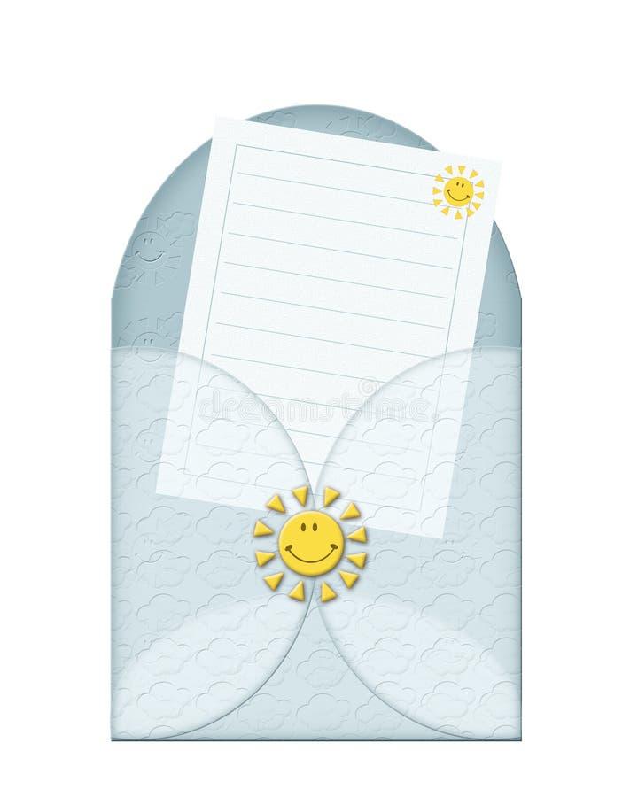 Een blauwe envelop stock illustratie