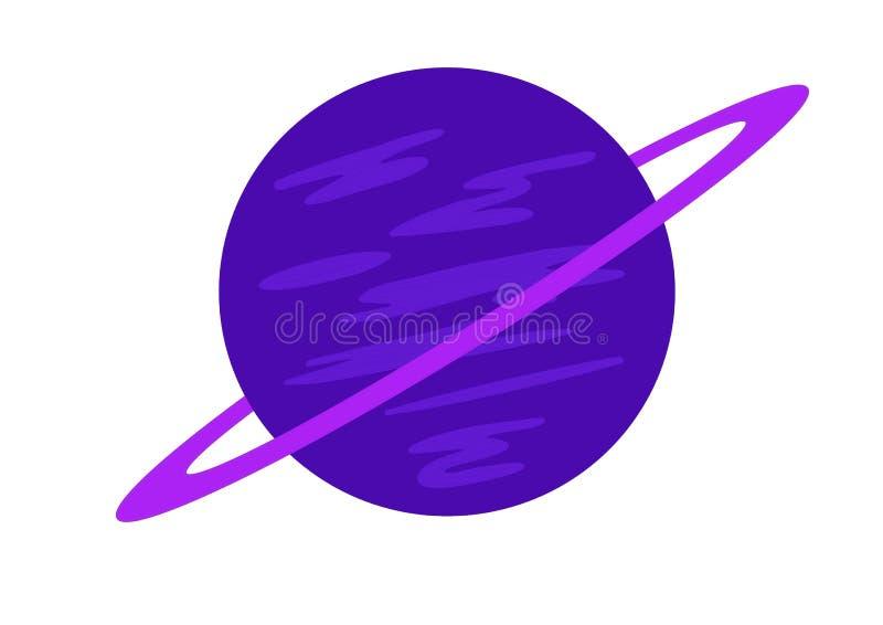 Een blauwe planeet met purpere ring stock illustratie