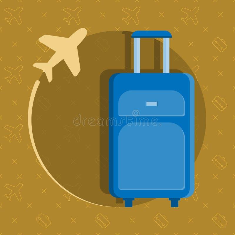 Een blauwe reiszak op een bruine achtergrond Cyaanbagage met een vliegtuig Vector illustratie stock illustratie