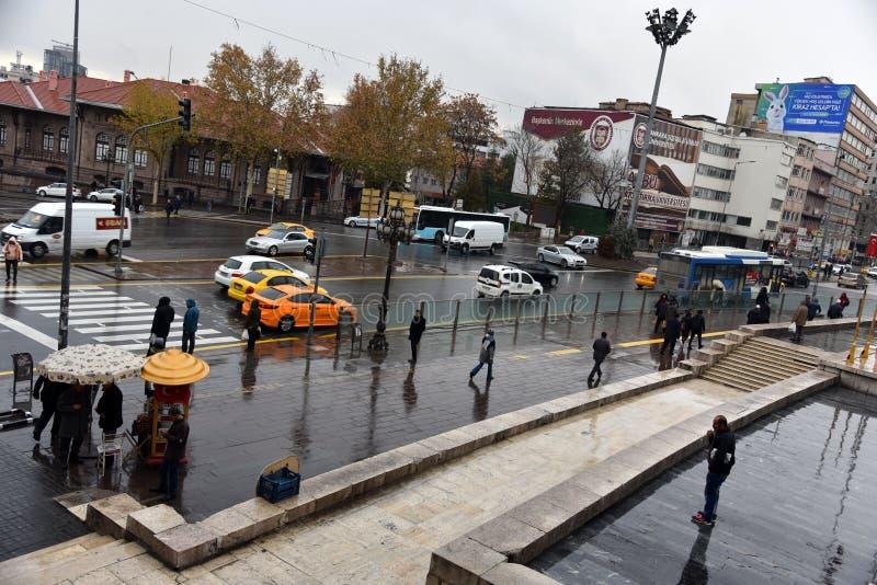Een blik op het Ulus Square, Ataturk Statue, Ankara, Turkije royalty-vrije stock afbeeldingen
