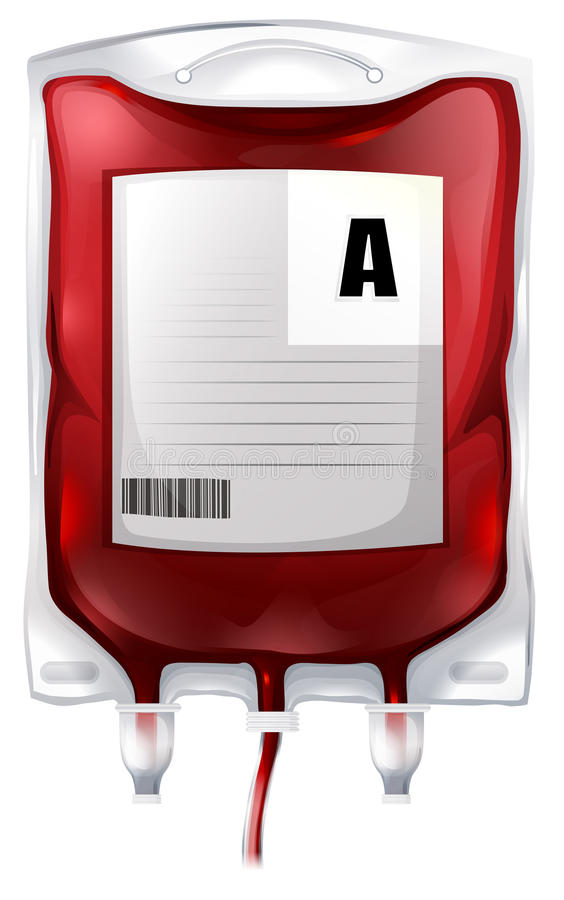 Een bloedzak met type A bloed stock illustratie