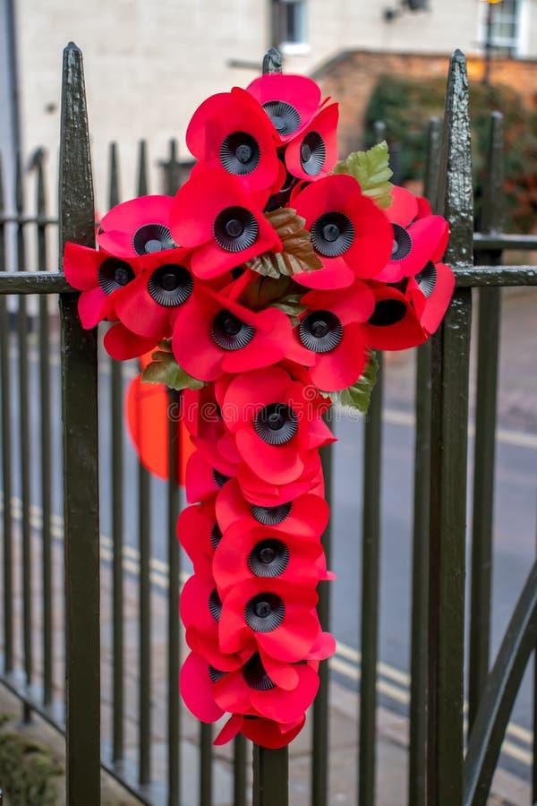 Een bloemenherdenking die het eind van de Eerste Wereldoorlog merken royalty-vrije stock afbeelding