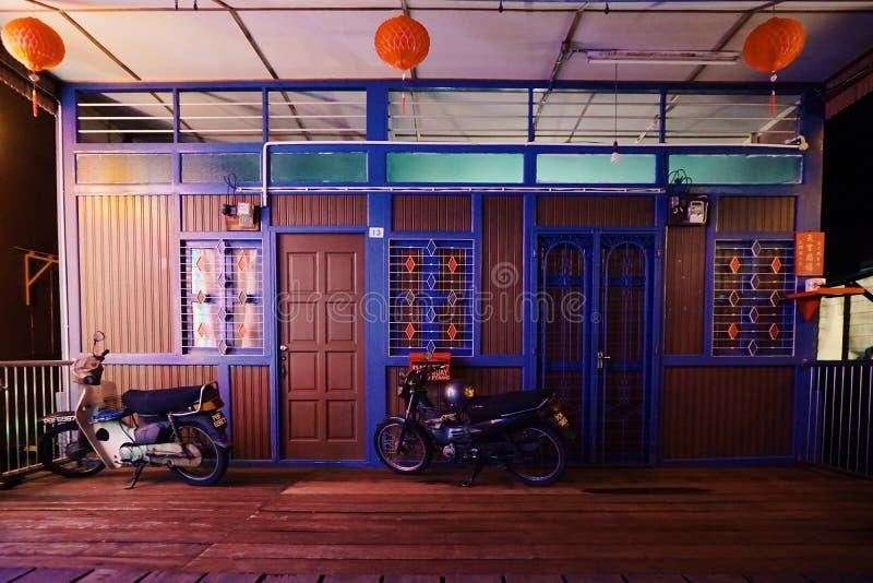 een blokhuis in Duishan Lee Jetty, Penang, Maleisië stock foto