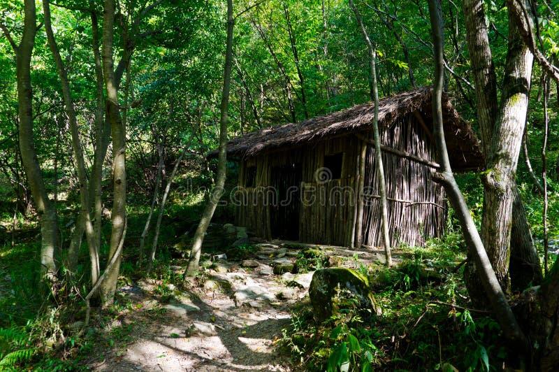 Een blokhuis in Wudang-Berg stock foto's
