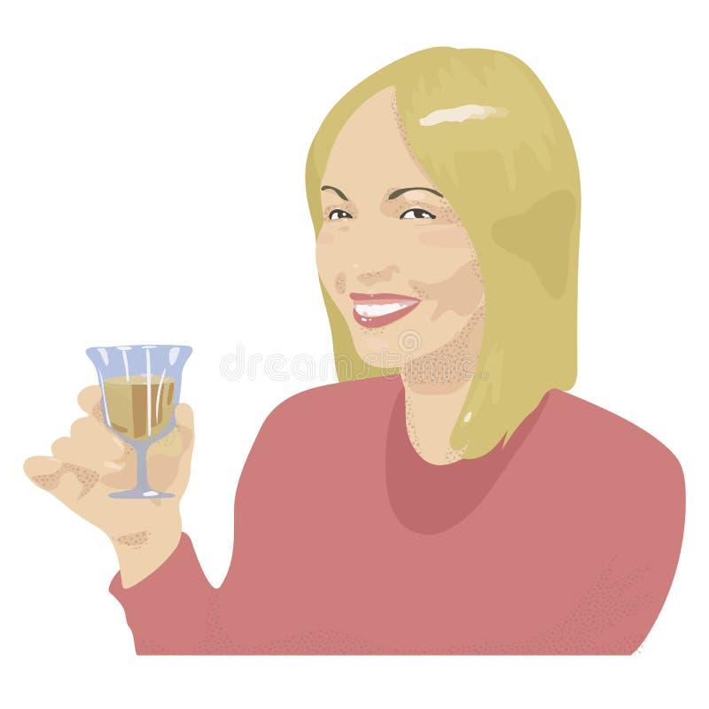 Een blond meisje in een rode blouse die met witte tanden glimlachen en een glas witte wijn in haar houden hand vectorillustratie royalty-vrije illustratie