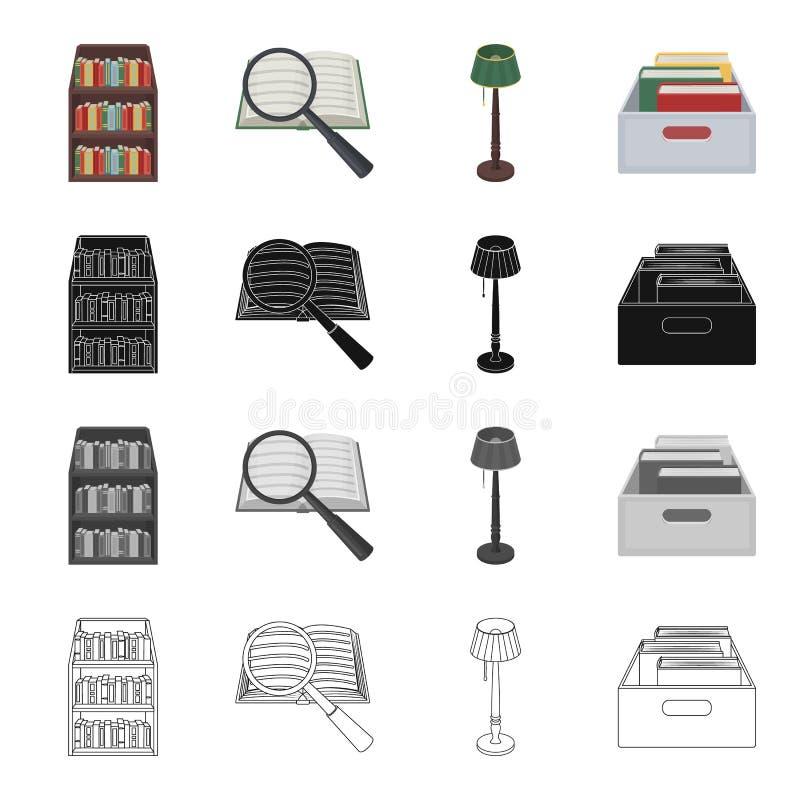 Een boek en een vergrootglas, een plank met boeken in de bibliotheek, een staande lamp, een vakje met omslagen Bibliotheekreeks royalty-vrije illustratie