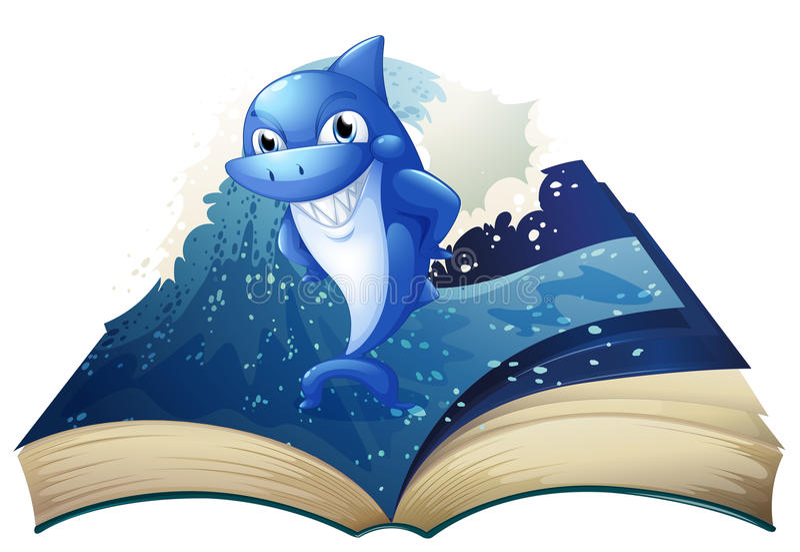 Een boek met een beeld van een grote het glimlachen haai vector illustratie