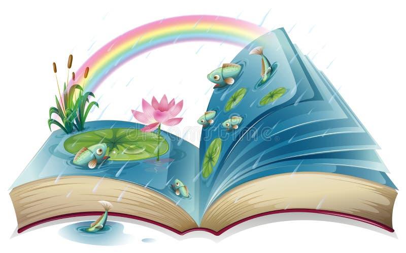 Een boek met een beeld van een vijver vector illustratie