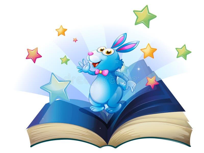 Een boek met een konijntje dat met sterren wordt omringd stock illustratie