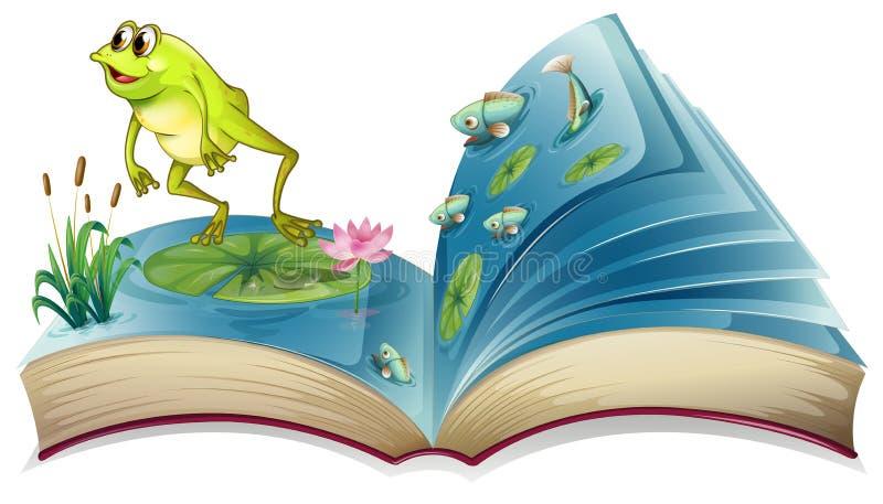 Een boek witn een beeld van een kikker en vissen stock illustratie