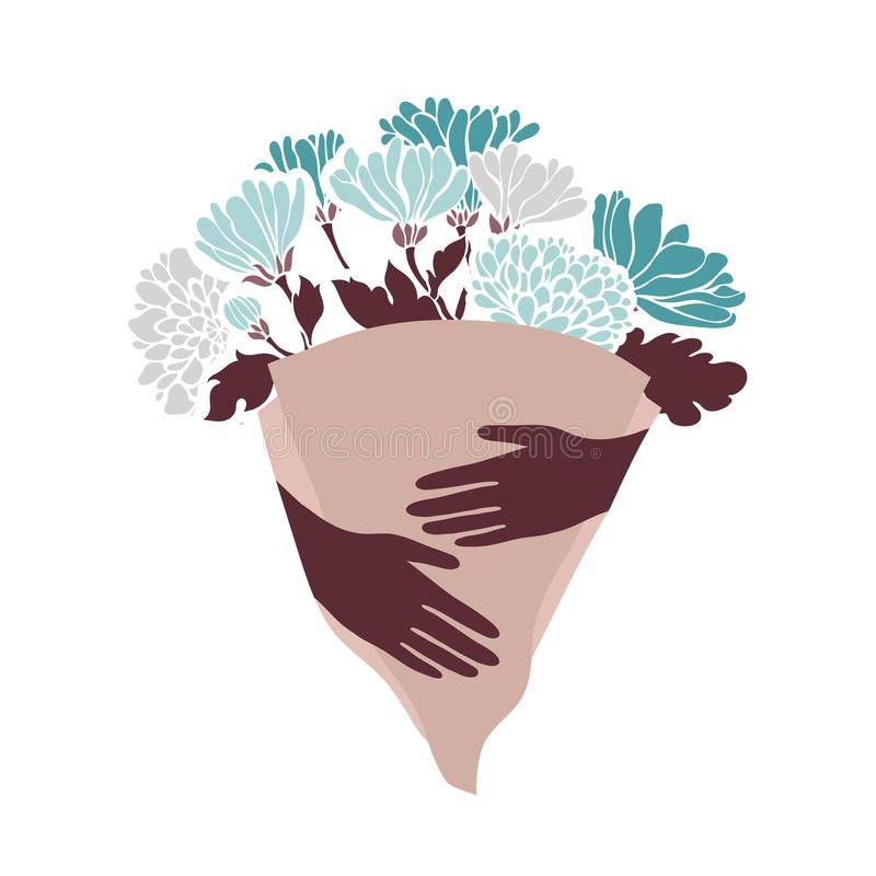 Een boeket van chrysanten in de handen vector illustratie