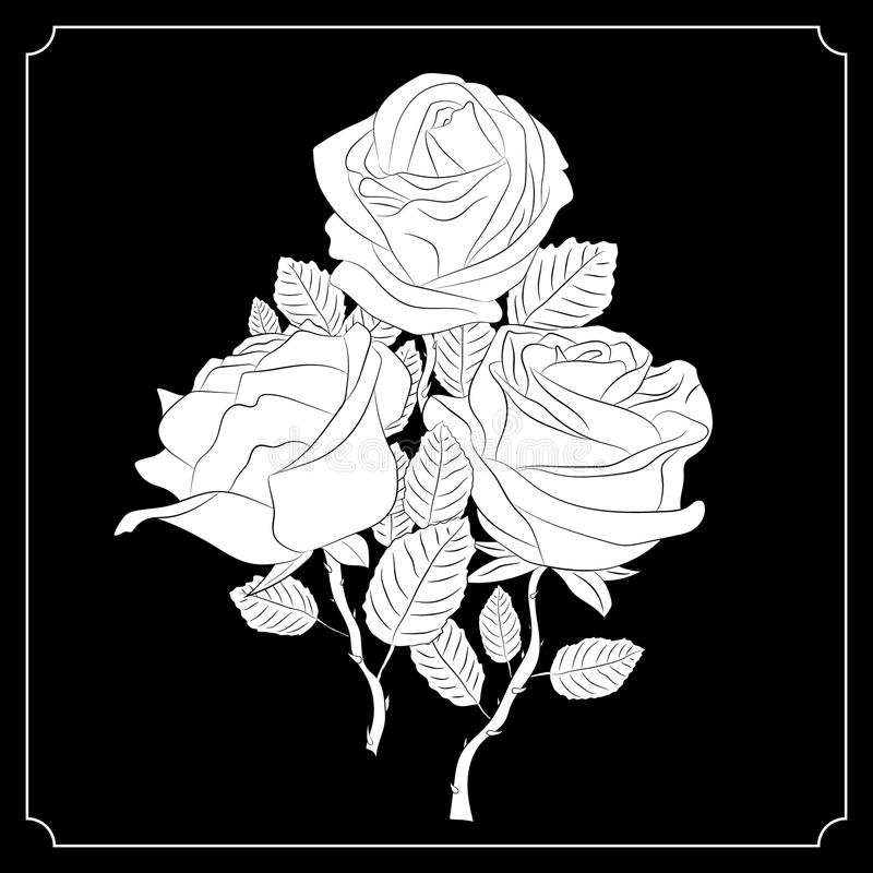 Een boeket van drie rozen Zwart-witte tekening kalligrafie tatoegering vector illustratie