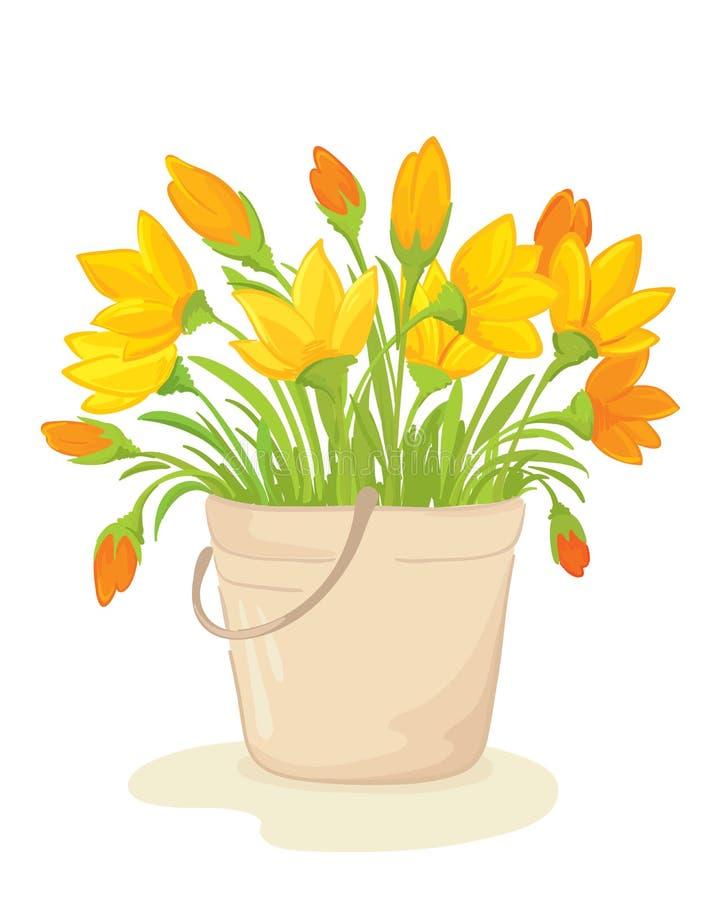 Een boeket van gele bloemen vector illustratie