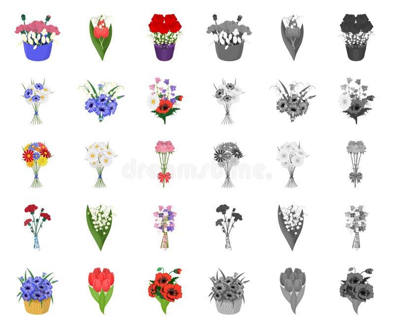Een boeket van vers bloemenbeeldverhaal, monopictogrammen in vastgestelde inzameling voor ontwerp De voorraadweb van het diverse  royalty-vrije illustratie